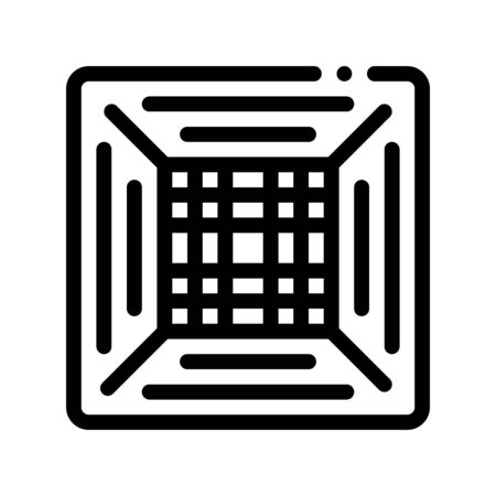 Office Climate Conditioner Thin Line Icon. Conditioner Electronic Temperature Comfort Technology, Inside Unit Cooling Device Linear Pictogram. Conditioning Maintenance Contour Illustration