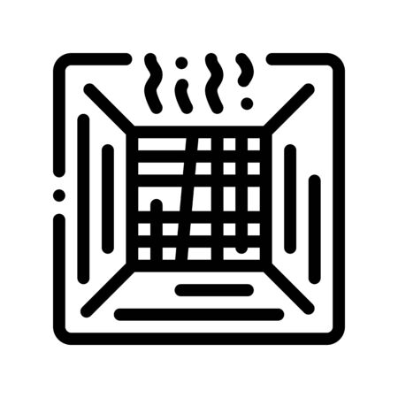 Broken Old Air Conditioner Thin Line Icon. Commercial Environment Conditioner Electronic Comfort Technology, Inside Unit Linear Pictogram. Conditioning Maintenance Contour Illustration