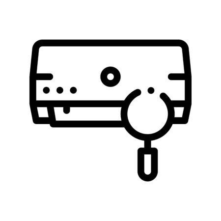 Diagnosis Broken Conditioner Thin Line Icon. Conditioner Technology Equipment Indoor Unit And Magnifier Linear Pictogram. Troubleshooting Air Conditioning Contour Illustration Reklamní fotografie