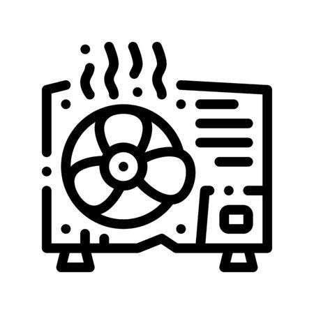 Broken Conditioner System Thin Line Icon. Overheat Conditioner Technology Equipment, Superheat Outdoor Unit Ventilator Linear Pictogram. Air Conditioning Maintenance Contour Illustration Reklamní fotografie