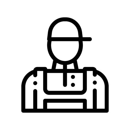 Conditioner Repairman Worker Thin Line Icon. Conditioner Repair Technician Engineer Man Silhouette Character Linear Pictogram. Air Conditioning Maintenance Contour Illustration Stockfoto