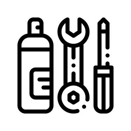 Repair Tool Conditioner Thin Line Icon. Equipment For Diagnosis And Repair Engineer Wrench Screwdriver And Oiling Linear Pictogram. Air Conditioning Maintenance Contour Illustration