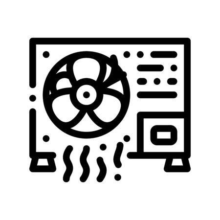 Working Conditioner System Thin Line Icon. Conditioner Technology Equipment Outdoor Unit Ventilator And Windstream Linear Pictogram. Air Conditioning Maintenance Contour Illustration