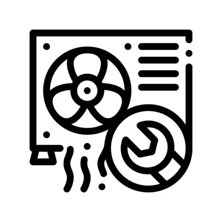 Conditioner System Repair Thin Line Icon. Conditioner Technology Equipment Outdoor Unit Ventilator And Engineer Wrench Linear Pictogram. Air Conditioning Maintenance Contour Illustration