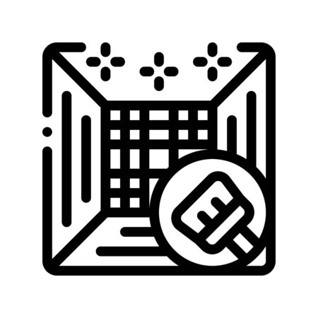 Climate System Cleaning Thin Line Icon. Conditioner System Clean Equipment Brush Linear Pictogram. Air Conditioning Electronic Technology Maintenance Contour Illustration Reklamní fotografie