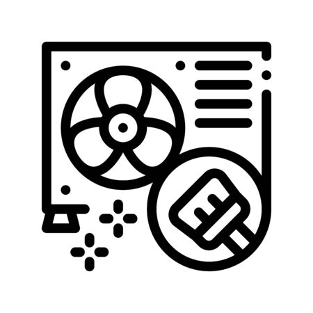 Conditioner Repair Cleaning Thin Line Icon. Conditioner Repair, Clean Equipment Ventilator Brush Linear Pictogram. Air Conditioning System Maintenance Contour Illustration