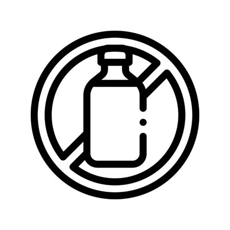 Allergen Free Sign Lactose Thin Line Icon. Allergen Free Beverage Product Linear Pictogram. Crossed Out Mark Bottle With Dairy Cow Milk Healthy Produce. Monochrome Contour Illustration