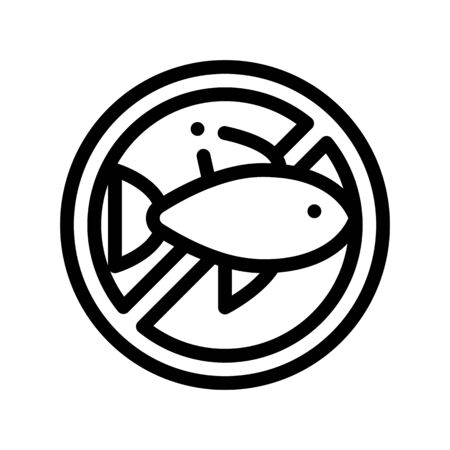 Allergen Free Sign Seafood Thin Line Icon. Allergen Free Sea Food Linear Pictogram. Crossed Out Mark With Seafood Sardine Scomber Healthy Produce. Black And White Contour Illustration