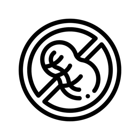 Allergen Free Sign Peanut Thin Line Icon. Allergen Free Nut Food Linear Pictogram. Crossed Out Mark With Goober Earth-nut Bean Healthy Produce. Black And White Contour Illustration
