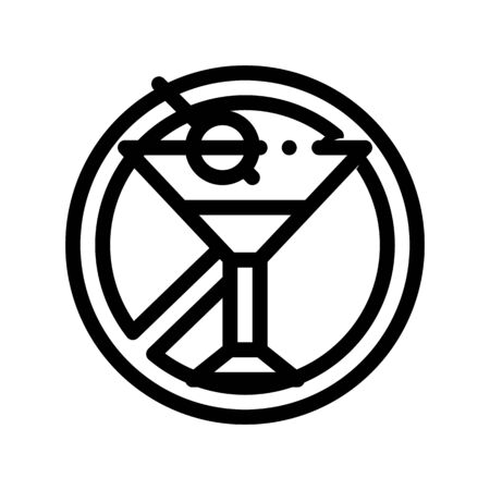 Allergen Free Sign Alcohol Thin Line Icon. Allergen Free Alcoholic Drink Linear Pictogram. Crossed Out Mark Glass With Beverage And Olive Healthy Produce. Monochrome Contour Illustrations Zdjęcie Seryjne