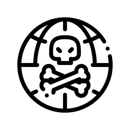 Raw Head And Bloody Bones Thin Line Icon. Skull With Bones And Planet Earth Environmental Pollution, Chemical Catastrophe Linear Pictogram. Dirty Soil, Water, Air Contour Illustration Zdjęcie Seryjne