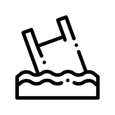 Bag Junk Flotsam In Ocean Thin Line Icon. Rubbish Materials Environmental Pollution Ocean Sea And Chemical Linear Pictogram. Dirty Soil, Water, Air Contour Illustration