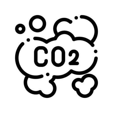 Co2 Smoulder Smoke Steam Air Thin Line Icon. Carbonic Oxide Dirty Air Environmental Pollution Defilement Linear Pictogram. Atmospheric Impurity, Soil And Water Contour Illustration Zdjęcie Seryjne