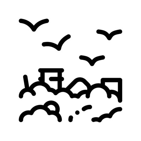 Building Smog And Birds Thin Line Icon. City Town Environmental Pollution, Chemical, Industrial Smog Steam Linear Pictogram. Dirty Soil, Water, Air Contour Illustration Zdjęcie Seryjne