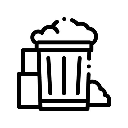 Container With Rubbish Trash Thin Line Icon. Container With Refuse Garbage Materials Environmental Pollution, Chemical Linear Pictogram. Dirty Soil, Water, Air Contour Illustration