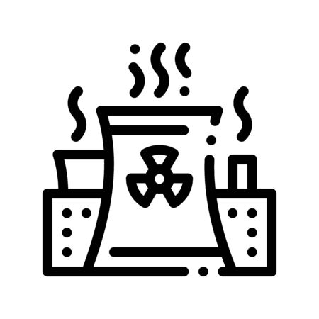 Generating Atomic Plant Thin Line Icon. Nuclear Atomic Facility Environmental Pollution, Chemical, Radiological Contamination Linear Pictogram. Dirty Soil, Water, Air Contour Illustration