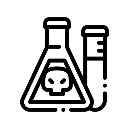 Flask With Chemical Liquid Thin Line Icon. Chemical Toxic Poison In Container Environmental Pollution, Radiological Contamination Linear Pictogram. Contour Illustration