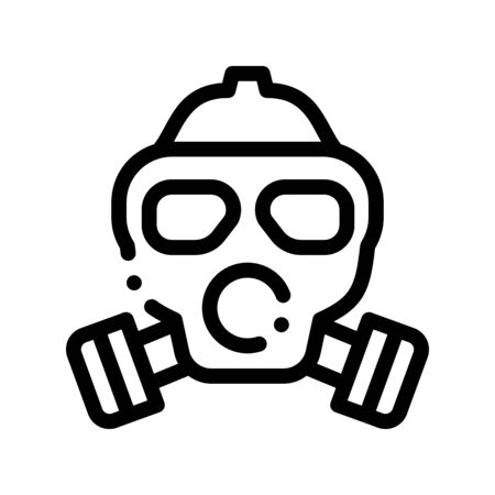 Safe Life Gaz Dirty Air Mask Thin Line Icon. Air Environmental Pollution, Chemical, Radiological Contamination And Co2 Linear Pictogram. Ecosystem Contour Illustration
