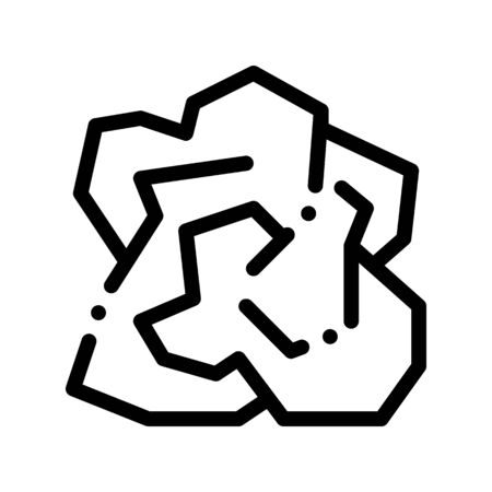 Crumpled Piece Of Paper Thin Line Icon. Ecological Fatal Down Environmental Pollution Impact Of Cast-off Paper Linear Pictogram. Dirty Soil, Water, Air Contour Illustration