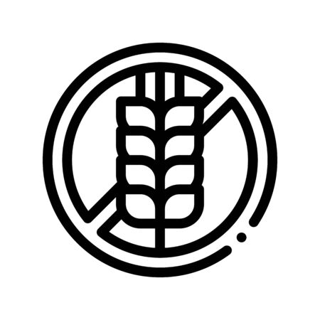 Allergen Free Sign Wheat Thin Line Icon. Allergen Free Gluten Agricultural Food Linear Pictogram. Crossed Out Mark Spike Rye Eco Healthy Produce. Black And White Contour Illustration