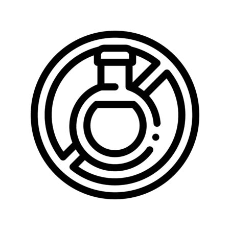 Allergen Free Sign Drink Thin Line Icon. Allergen Free Beverage Product Linear Pictogram. Crossed Out Mark Bottle With Liquid Healthy Produce. Black And White Contour Illustration