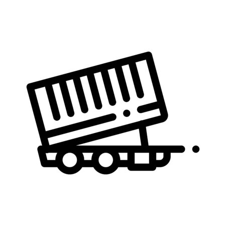 Agricultural Cargo Trailer Thin Line Icon. Truck Trailer For Delivery Corn Grain. Machinery Transport Linear Pictogram. Irrigation Machine Combine Monochrome Contour Illustration