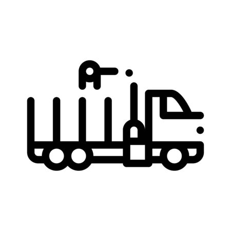 Delivery Loading Straw Truck Thin Line Icon. Agricultural Transport Truck, Harvesting Machinery Linear Pictogram. Harvester Machine Black And White Contour Illustration Stockfoto