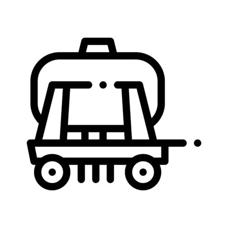 Cargo Water Trailer Vehicle Thin Line Icon. Agricultural Transport Liquid Trailer Machinery Linear Pictogram. Delivery Machine, Combine Monochrome Contour Illustration Stockfoto