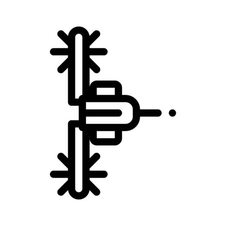 Agronomy Seeding Trailer Thin Line Icon. Agricultural Seeding Tractor For Pulling Ploughing On Farm Field. Machinery Transport Linear Pictogram. Monochrome Top View Contour Illustration