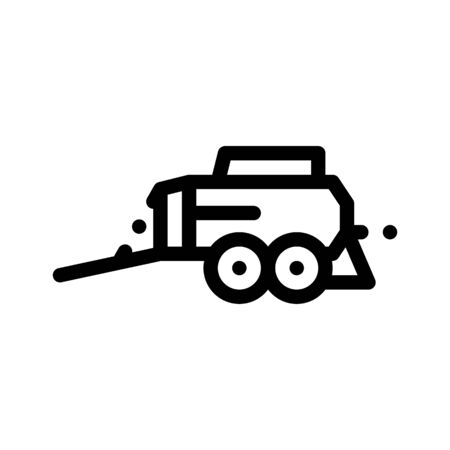 Hay Pressing Trailer Vehicle Thin Line Icon. Agricultural Transport Crushing Tree Trailer Machinery Linear Pictogram. Industry Agronomy Machine Monochrome Contour Illustration