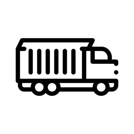 Agricultural Cargo Truck Thin Line Icon. Truck For Delivery Corn Grain Farm Product. Machinery Transport Linear Pictogram. Irrigation Machine Combine Monochrome Contour Illustration Stockfoto