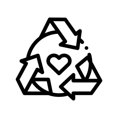 Healthy Organic Cosmetics Thin Line Icon. Heart And Recycle Sign Organic Cosmetics, Natural Ingredient Linear Pictogram. Eco, Cruelty-free Product, Molecular Analysis Contour Illustration