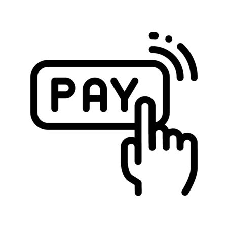 One Click Touch Payment Thin Line Icon. Online Money Transaction, Financial Banking Payment Pay Operation Linear Pictogram. Global Digital Technology Contour Illustration