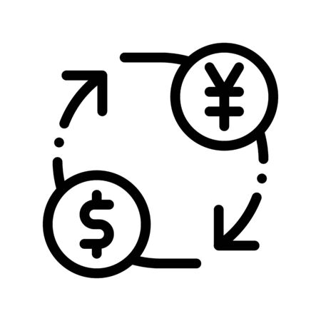 Currency Money Dollar Yen Thin Line Icon. Online Money Transaction, Financial Internet Banking Payment Operation Linear Pictogram. Dollar Exchange Contour Illustration
