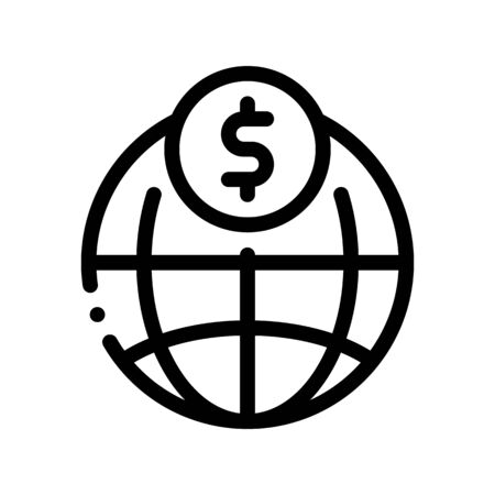 World Payment Coin Transfer Thin Line Icon. Online Money Transaction, Financial Internet Banking Payment Operation Linear Pictogram. Dollar Currency Exchange Contour Illustration