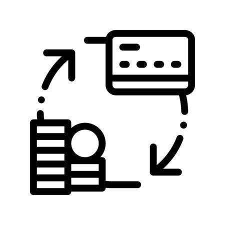 Transaction Money On Card Thin Line Icon. Online Money Transaction, Financial Internet Banking Payment Operation Linear Pictogram. Coin Circulation Currency Exchange Contour Illustration