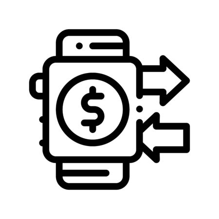 Payment Smart Watch Pay Pass Thin Line Icon. Online Transactions, Financial Internet Banking Payment Operation Linear Pictogram. Money Deposit Currency Exchange Contour Illustration