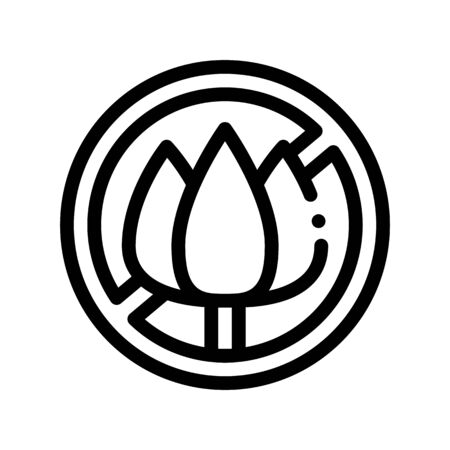 Allergen Free Sign Flower Thin Line Icon. Allergen Free Farina Pollen Linear Pictogram. Crossed Out Mark Flower-stalk Healthy Produce. Black And White Contour Illustration