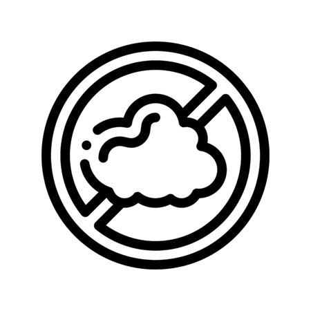 Allergen Free Sign Dust Thin Line Icon. Allergen Free Linear Pictogram. Crossed Out Mark Cinder Cloud Healthy Nature Environment. Black And White Contour Illustration Zdjęcie Seryjne