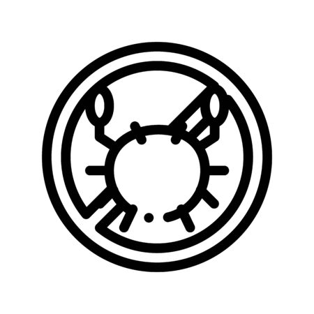 Allergen Free Sign Seafood Thin Line Icon. Allergen Free Food Linear Pictogram. Crossed Out Mark With Sea Crab Lobster Healthy Produce. Black And White Contour Illustration
