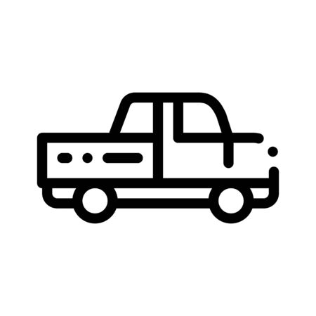 Agricultural Pickup Cargo Thin Line Icon. Pickup Little Truck Carriage Machine For Conveyance Farm Tool. Machinery Transport Linear Pictogram. Monochrome Contour Illustration Stockfoto