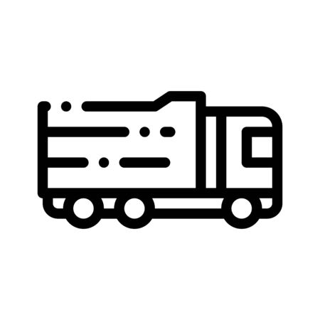 Agricultural Big Cargo Truck Thin Line Icon. Truck Machine For Conveyance Agronomy Grocery Food Or Equipment. Machinery Transport Linear Pictogram. Monochrome Contour Illustration