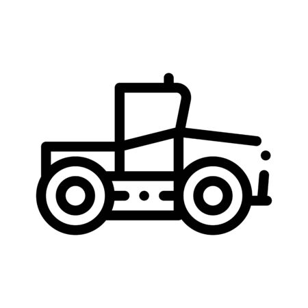 Industry Tractor Vehicle Thin Line Icon. Agricultural Tractor For Various Type Trailer Working On Farm Field. Seeding Harvesting Machine Linear Pictogram. Monochrome Contour Illustration