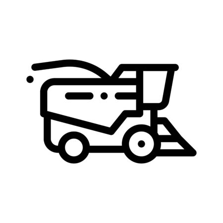 Farming Harvester Vehicle Thin Line Icon. Agricultural Tractor Harvester For Harvesting Working On Farm Field. Ingathering Machine Linear Pictogram. Monochrome Contour Illustration