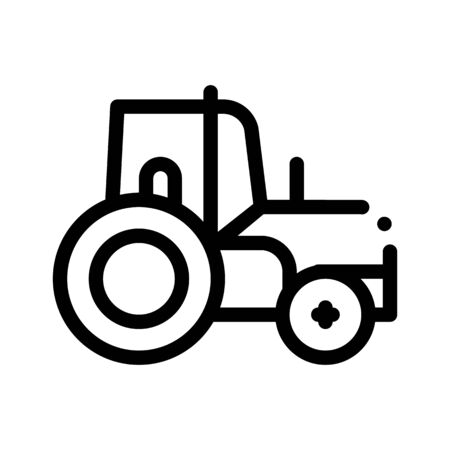 Farmland Tractor Vehicle Thin Line Icon. Agricultural Farm Tractor For Different Type Trailer. Transportation Harvesting Machine Linear Pictogram. Monochrome Contour Illustration