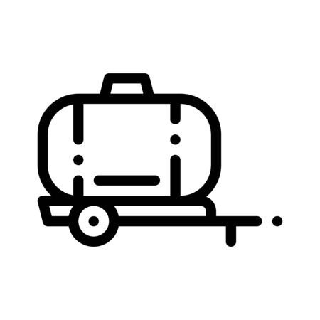 Uniaxial Trailer Vehicle Thin Line Icon. Agricultural Transport Water Trailer Machinery Linear Pictogram. Industry Agronomy Delivery Machine Monochrome Contour Illustration Stockfoto