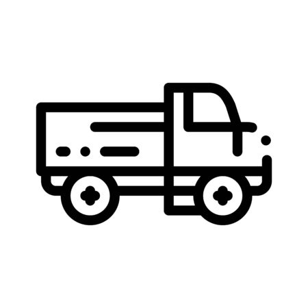 Farmland Delivery Truck Thin Line Icon. Truck For Transportation Farm Product Vegetable Fruit. Machinery Transport Linear Pictogram. Machine Monochrome Contour Illustration