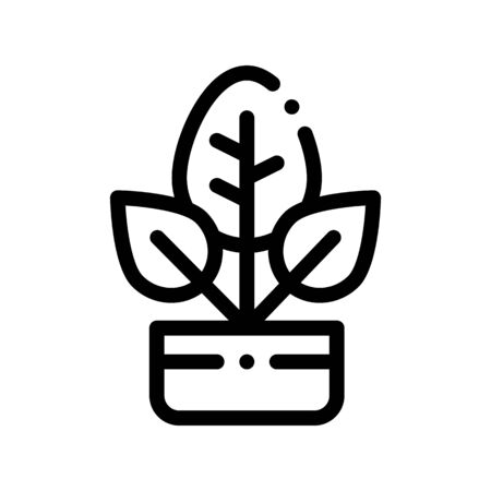 Bush Plant Leaves In Pot Thin Line Icon. Organic Cosmetic, Domestic Nature Component Plant Leaf Linear Pictogram. Eco-friendly, Cruelty-free Product, Molecular Analysis Contour Illustration Zdjęcie Seryjne