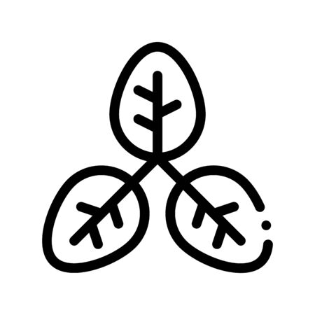 Bush Offshoot Plant Leaves Thin Line Icon. Organic Cosmetic, Natural Component Plant Leaf Linear Pictogram. Eco-friendly, Cruelty-free Product, Molecular Analysis Contour Illustration