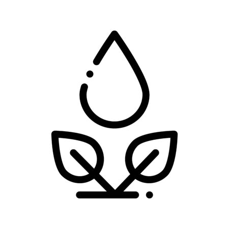 Drop Watering Leaves Bush Thin Line Icon. Organic Cosmetic, Natural Component Bush Plant Leaf Linear Pictogram. Eco-friendly, Cruelty-free Product, Molecular Analysis Contour Illustration